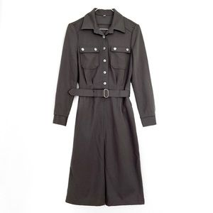 Belted Army Military Button Up Cargo Shirt Dress